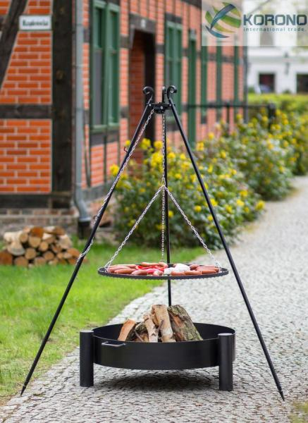 Korono Grillset 4: Schwenkgrill - 1,80m incl. Grillrost und Feuerschale (Größe Grillrost & Feuerschale: Ø 60cm Grillrost / 70cm Feuerschale) KOR-GS4-102+321