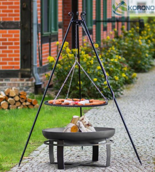 Korono Grillset 7: Schwenkgrill - 1,80m incl. Grillrost und Feuerschale (Größe Grillrost & Feuerschale: Ø 70cm Grillrost / 80cm Feuerschale) KOR-GS7-103+347