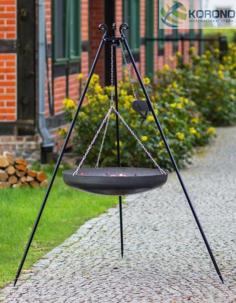 Korono Schwenkgrill mit Kurbel – 1,80m incl. WOK/Pfanne (Kessel: WOK-Stahlpfanne Ø 70cm) KOR-SG3-135