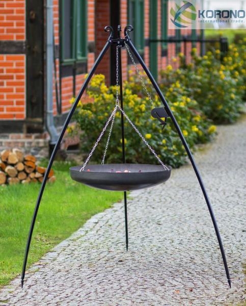 Korono Schwenkgrill mit Kurbel - 2,00m incl. WOK/Pfanne (Kessel: WOK-Stahlpfanne Ø 60cm) KOR-SG4-136