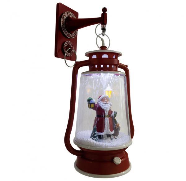 Schneiende LED-Laterne rot Santa 35 cm 36400