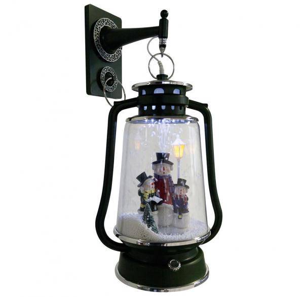 Schneiende LED-Laterne grün Schneemann-Familie 35 cm 36401
