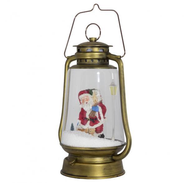 Schneiende LED-Laterne gold Santa - 35 cm 37598