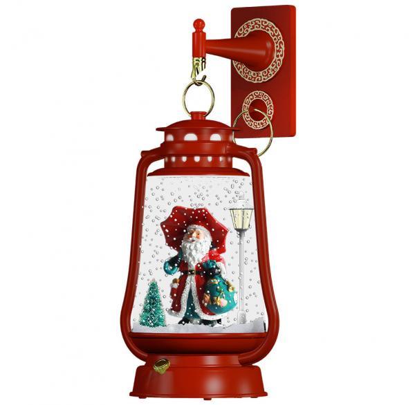 Schneiende LED-Laterne rot Santa 2 - 35 cm 37599