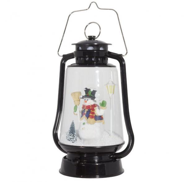 Schneiende LED-Laterne schwarz Schneemann 35 cm 37600