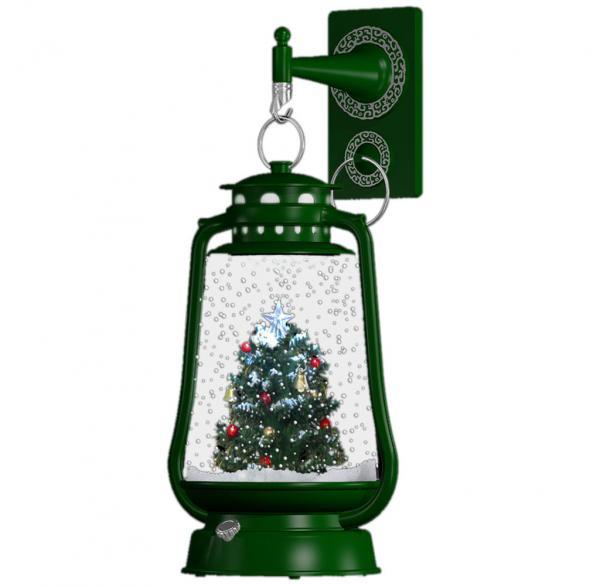 Schneiende LED-Laterne grün Tannenbaum - 35 cm 37601